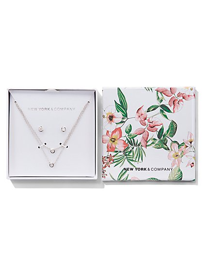 Silvertone Layered Pendant Necklace & Earring Gift Set - New York & Company