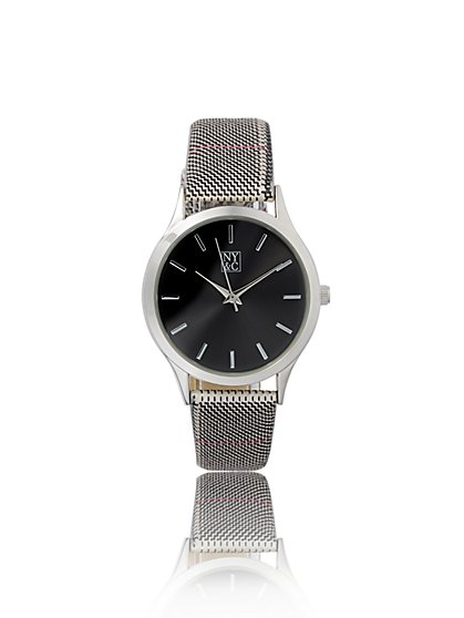 Silvertone Mesh Band Watch - New York & Company