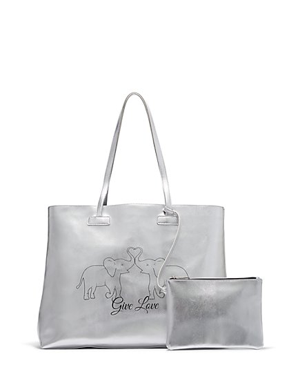 "Silvertone Metallic ""Give Love"" Tote Bag - St. Jude Collection - New York & Company"