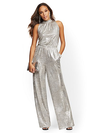 Silvertone Metallic Halter Jumpsuit - New York & Company
