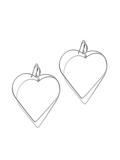 Silvertone Open Heart Hoop Earring - New York & Company