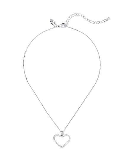 Silvertone Open Heart Pendant Necklace - New York & Company