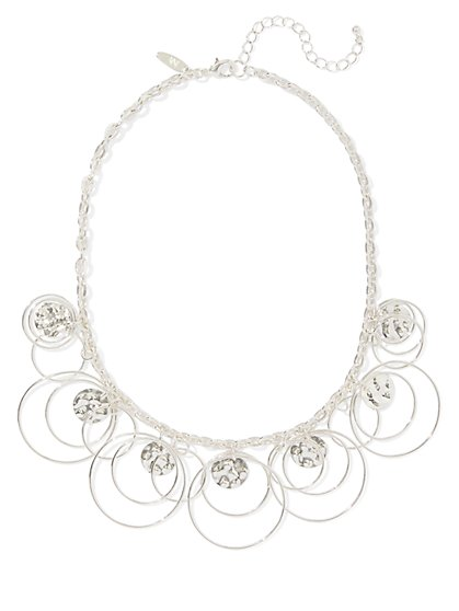 Silvertone Open Ring Necklace - New York & Company
