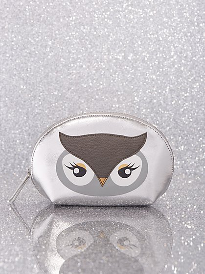 Silvertone Owl Cosmetic Bag - New York & Company