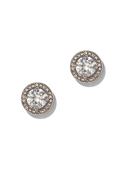 Silvertone Pave Cubic Zirconia Post Earring - New York & Company