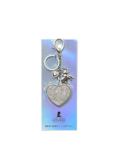 Silvertone Pave Keychain - St. Jude Collection - New York & Company
