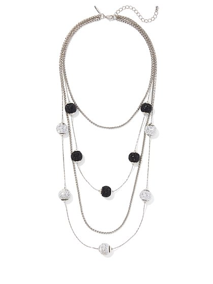 Silvertone Pave Layered Necklace - New York & Company