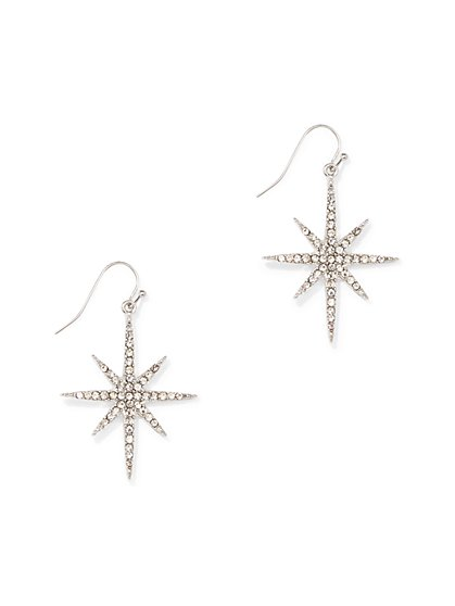 Silvertone Pave Star Drop Earring - New York & Company