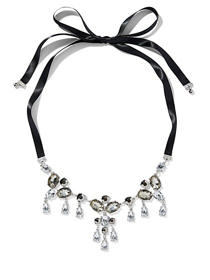 Silvertone Ribbon & Faux-Stone Statement Necklace - New York & Company