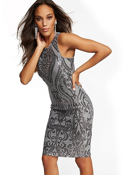 Silvertone Sequin Sheath Dress - New York & Company