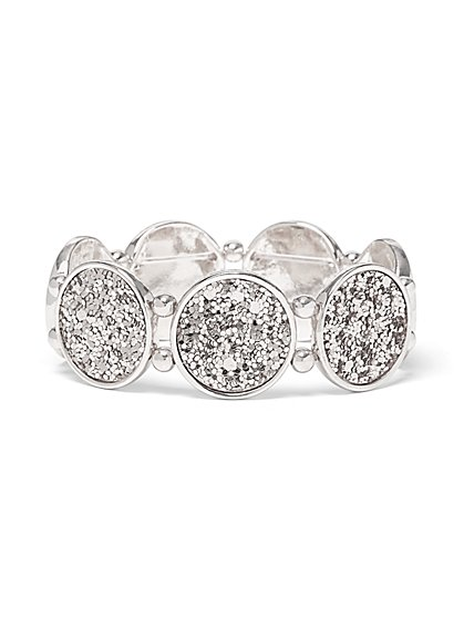 Silvertone Sequin Stretch Bracelet - New York & Company