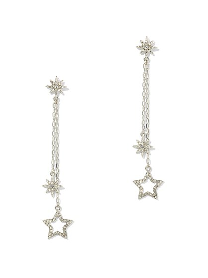 Silvertone Star Linear Drop Earring - New York & Company