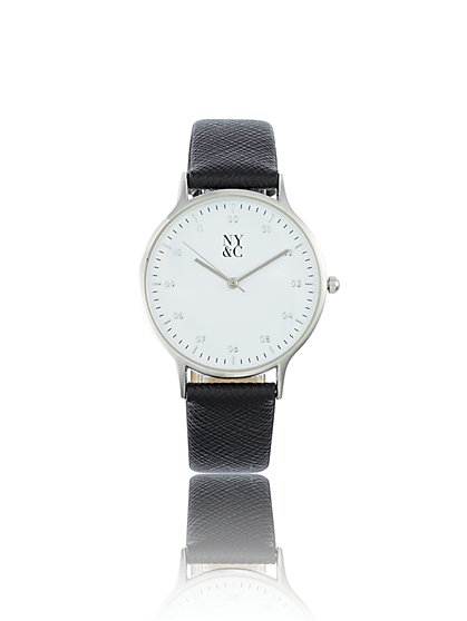 Silvertone Textured-Band Watch - New York & Company