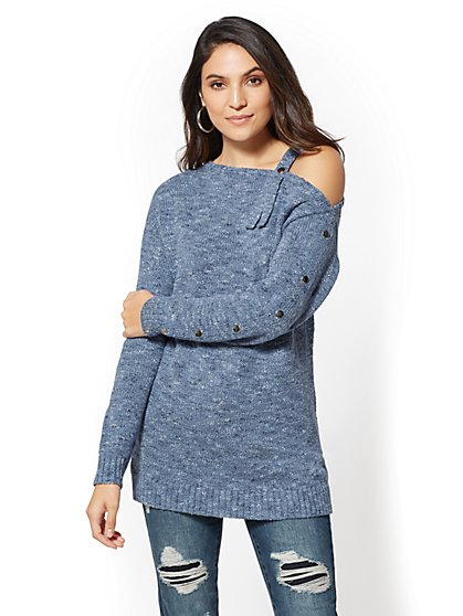 Single Cold-Shoulder Tunic Sweater - New York & Company