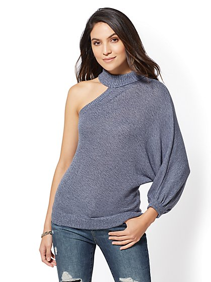 Single Cold-Shoulder Turtleneck Sweater - New York & Company
