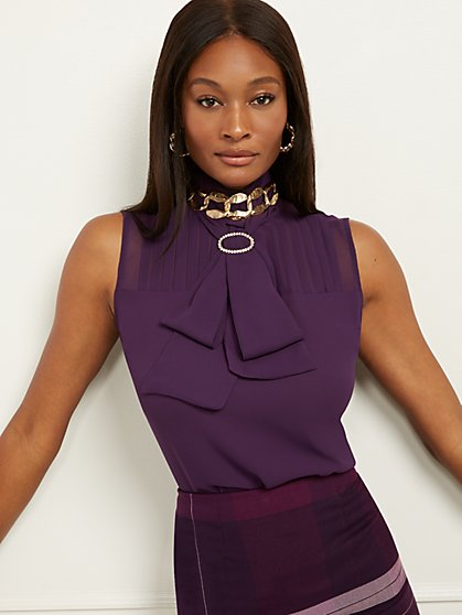Sleeveless Bow-Accent Blouse - 7th Avenue - New York & Company