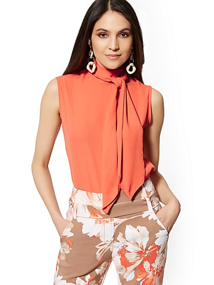 Sleeveless Bow Blouse - 7th Avenue - New York & Company