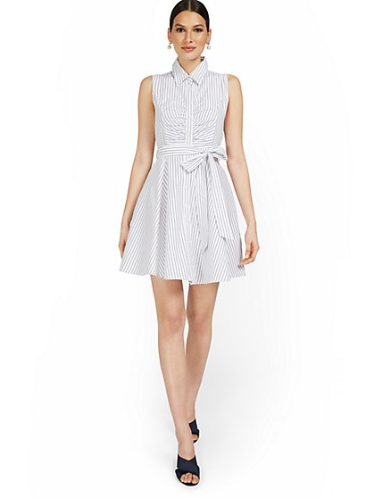 Sleeveless Bow-Front Stripe Shirtdress - New York & Company