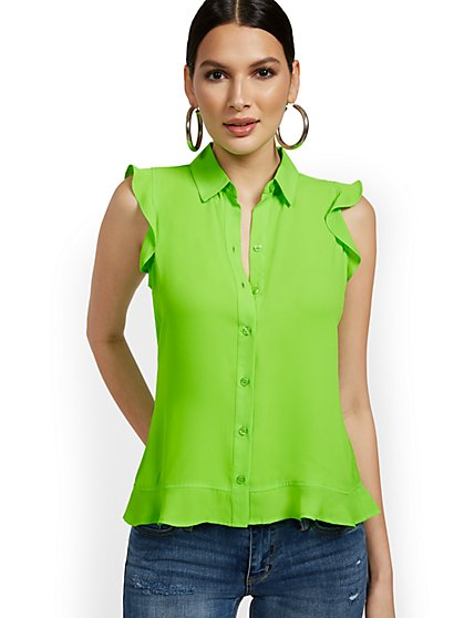 Sleeveless Button-Front Flouncy Top - New York & Company