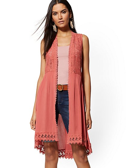 Sleeveless Crochet Duster - New York & Company