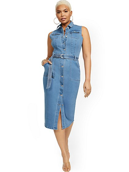 Sleeveless Denim Midi Dress - New York & Company