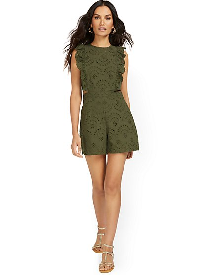 Sleeveless Eyelet Romper - New York & Company