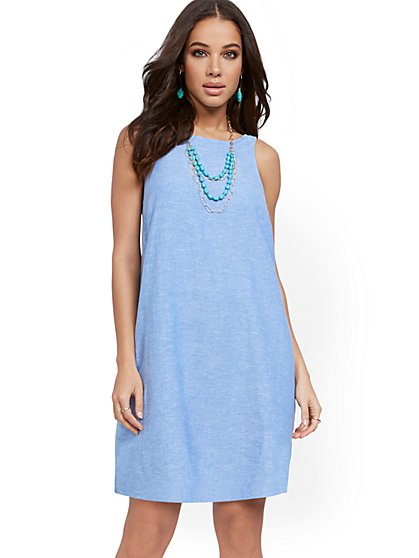 Sleeveless Linen Blend Dress - New York & Company