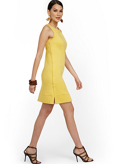 Sleeveless Side-Button Shift Dress - City Knits - New York & Company