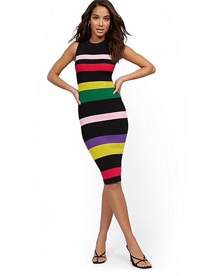 Sleeveless Stripe Sweater Dress - New York & Company