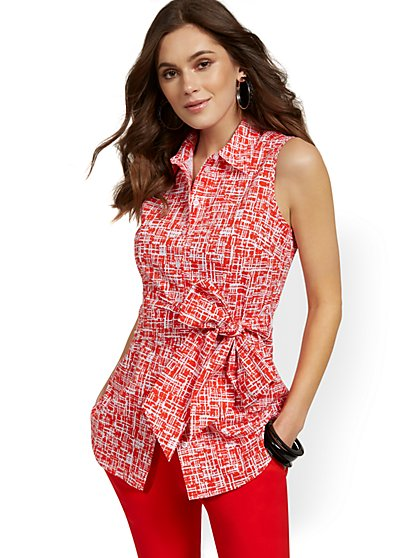 Sleeveless Tie-Front Button-Down Poplin Top - New York & Company