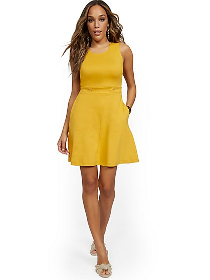 Sleeveless Two-Button Fit and Flare Dress - City Knits - New York & Company