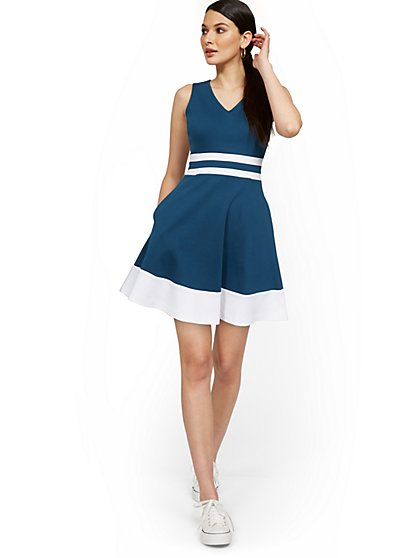 Sleeveless V-Neck Stripe Fit and Flare Dress - City Knits - New York & Company