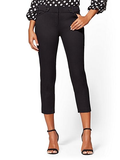 Slim Leg Crop Pant - Button Waistband - Modern Fit - 7th Avenue - New York & Company