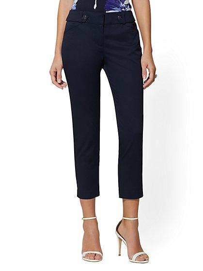 d8012e33ba4 Slim Leg Crop Pant - Button Waistband - Modern Fit - 7th Avenue - New York  ...
