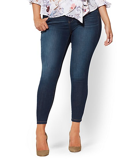Slimming No-Gap Super-Skinny Ankle Jeans - Dark Blue - New York & Company
