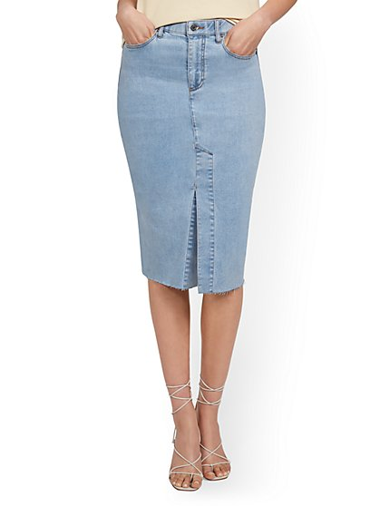 Slit-Front Denim Pencil Skirt - New York & Company
