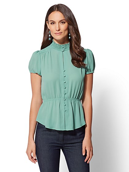 Smocked Button-Front Peplum Blouse - New York & Company