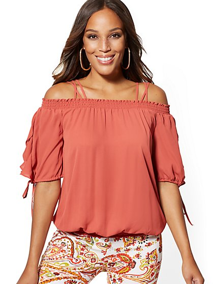 Smocked Cold-Shoulder Blouse - 7th Avenue - New York & Company