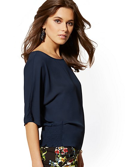 Smocked Dolman Blouse - 7th Avenue - New York & Company