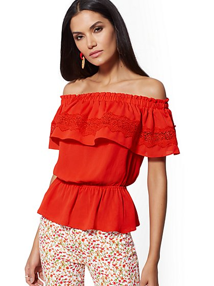 Smocked Off-The-Shoulder Blouse - New York & Company