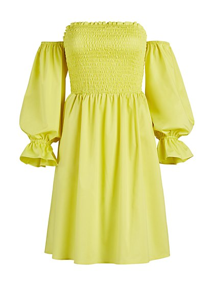 Smocked Off-The-Shoulder Dress - New York & Company