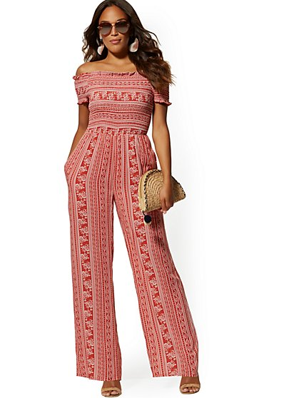 Smocked Off-The-Shoulder Jumpsuit - New York & Company