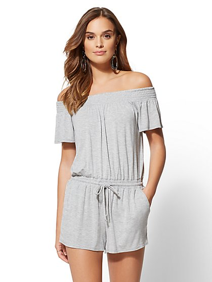 Smocked Off-The-Shoulder Romper - New York & Company