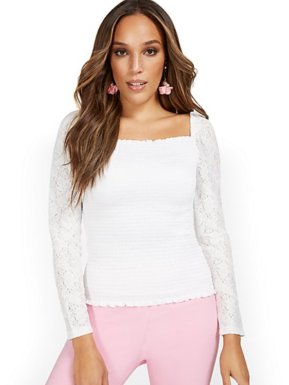 Smocked Puff-Sleeve V-Neck Top - New York & Company