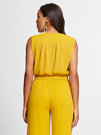 9b8634e62f ... Smocked Wrap Blouse - Gabrielle Union Collection - New York & Company  ...