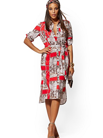 Snake & Link Print Midi Shirtdress - New York & Company