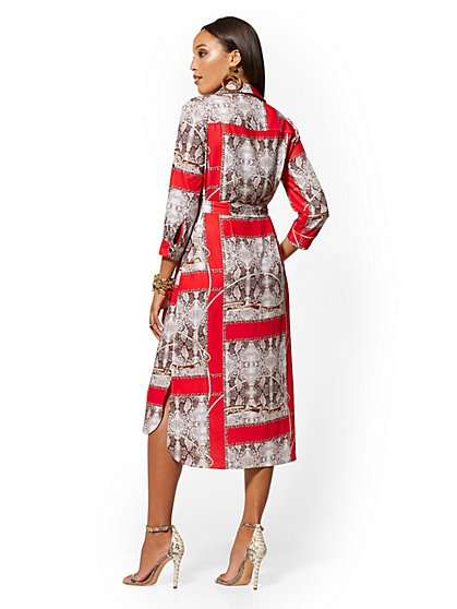 5f2d02957a7b ... Snake & Link Print Midi Shirtdress - New York & Company
