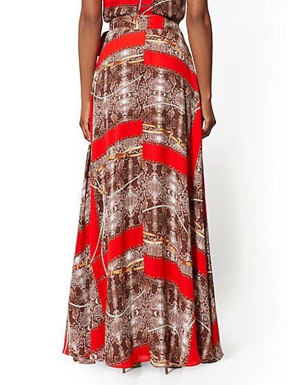 37461f52f7 ... Snake & Link Print Wrap Maxi Skirt - New York ...