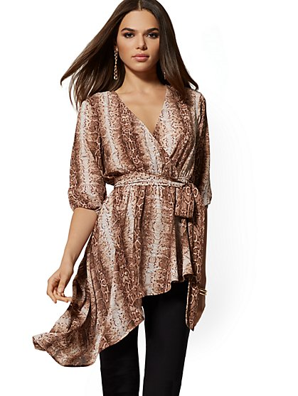 Snake-Print Asymmetrical-Hem Wrap Blouse - New York & Company
