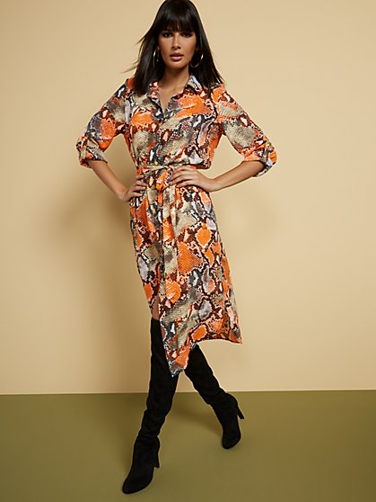 Snake-Print Belted Cargo Shirtdress - New York & Company